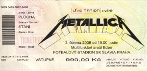 Eintrittskarte Metallica in Prag 2008-06-03
